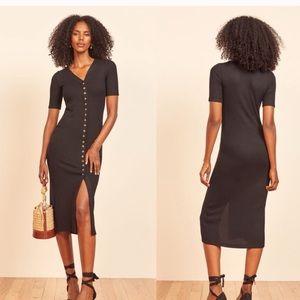 Reformation jeans black button dress M